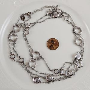 Lia Sophia Silver Tone Circle Square Necklace 28""